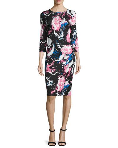 3/4-Sleeve Marble-Print Sheath Dress, Marble/Multi