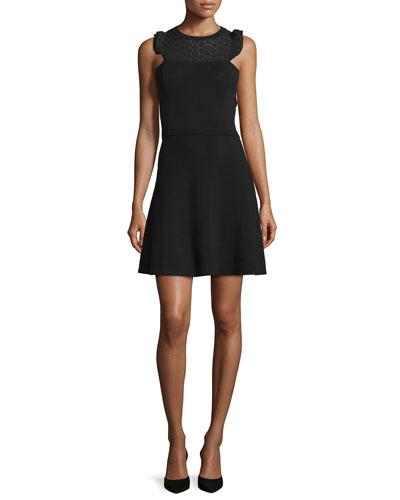 Sleeveless Lace-Yoke Dress, Black