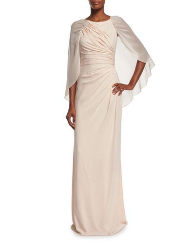 Pleated Column Gown W/Cape, Blush