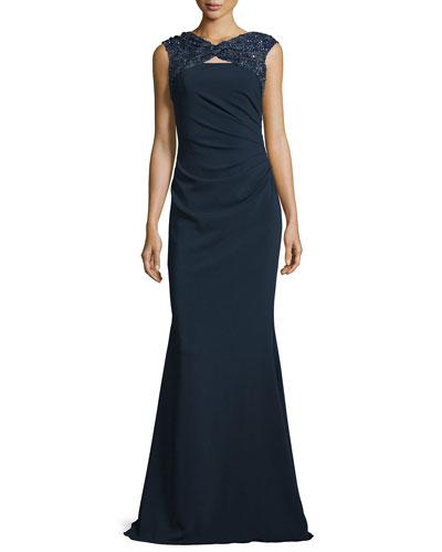 Embellished-Yoke Mermaid Gown, Navy