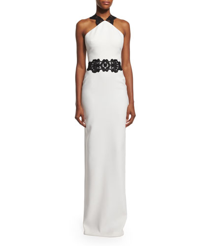 Lace-Appliqué Column Gown, Ivory/Black