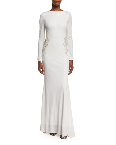 Draped-Back Embellished Gown, Ivory