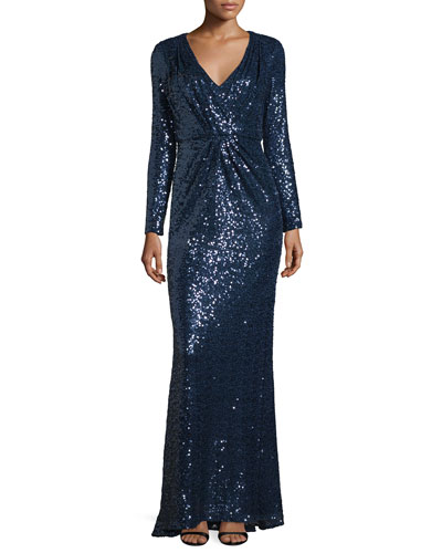 V-Neck Sequined Long-Sleeve Column Gown