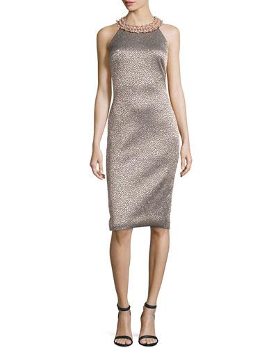 Embellished-Neck Leopard-Print Sheath Dress, Rose Gold/Multi