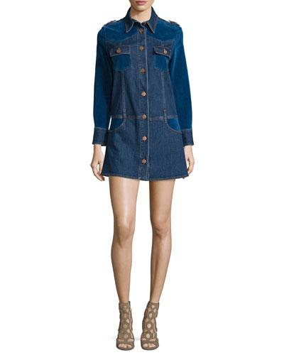 Long-Sleeve Denim/Velvet Shirtdress, Washed Indigo
