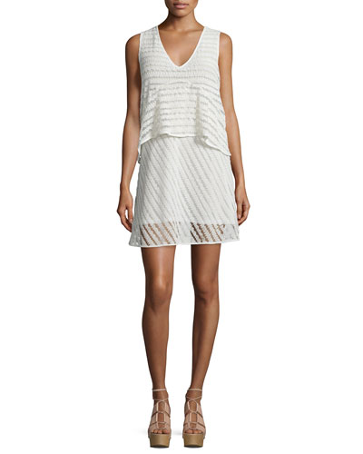 Sleeveless Sheer-Stripe Popover Dress, White