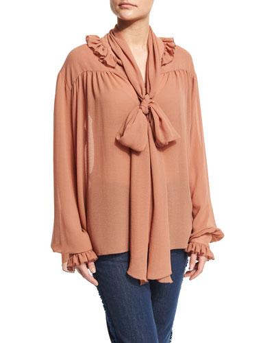 Long-Sleeve Oversized Ruffle-Trim Top, Dusty Pink