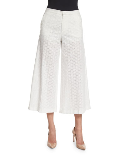 Wide-Leg Cropped Cotton Lace Pants, White