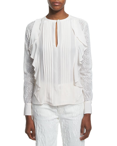 Long-Sleeve Woven Ruffle-Trim Top, Cloud White