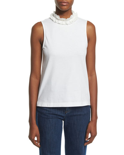 Sleeveless Cotton Ruffle-Collar Top, White