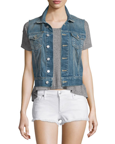 Gwen Button-Front Denim Vest, Blue Z