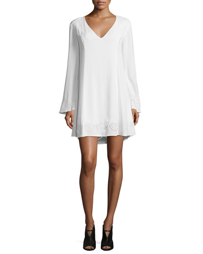 Dana Long-Sleeve Embroidered Dress, White