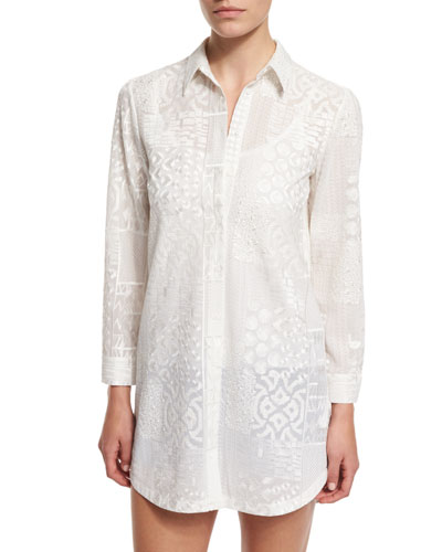 Tanisha Embroidered Button-Front Tunic, White