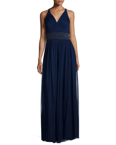Sleeveless Beaded-Waist Mesh Gown