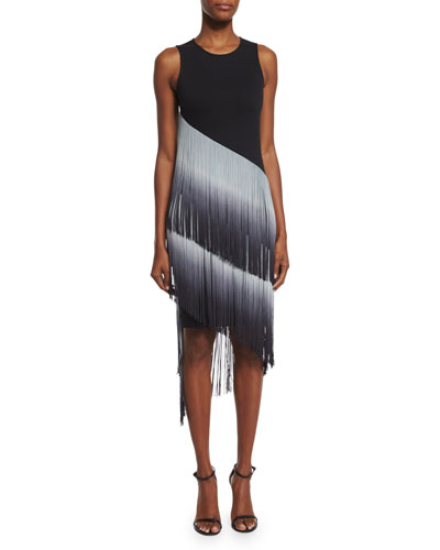 The Cowgirl Ombre Fringe Dress, Black