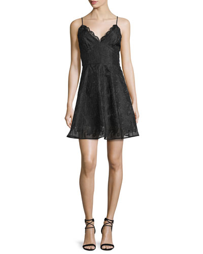 Sundream Sleeveless Lace Mini Dress, Black