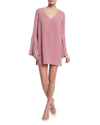 Faithful Bell-Sleeve Mini Dress, Rose Pink