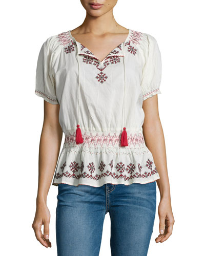 Winona Short-Sleeve Embroidered Top, Ivory