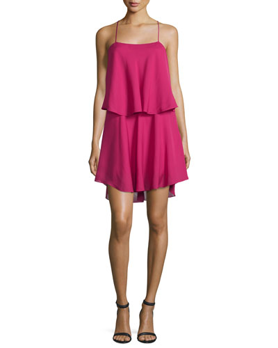 Silk Racerback Mini Dress, Deep Magenta