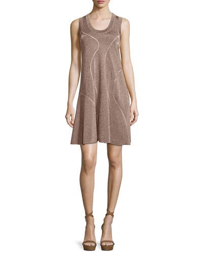 Metallic Sleeveless Racerback Dress, Bronze
