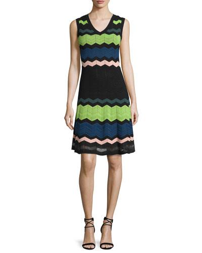 Sleeveless V-Neck Zigzag Dress, Black Multi