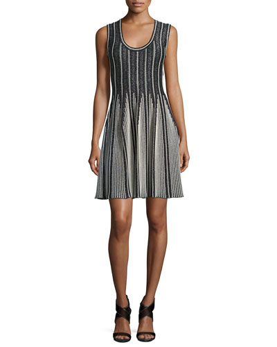 Striped Sleeveless Fit-&-Flare Dress, Black/White