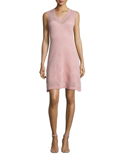 Zigzag V-Neck Sleeveless Dress, Blush