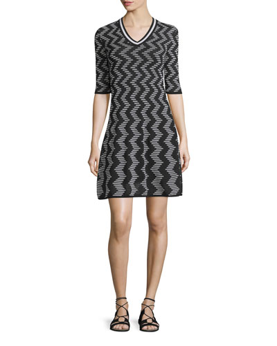 Rod Zigzag Short-Sleeve V-Neck Dress, Black