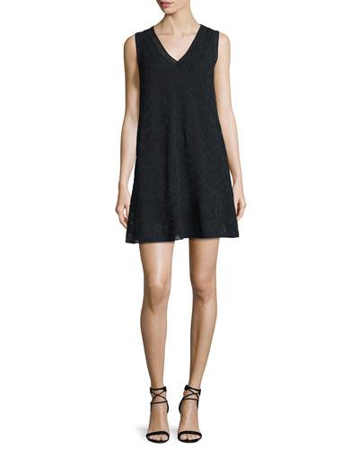Solid Zigzag V-Neck Flounce Dress, Black