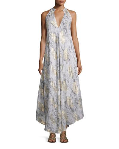 Metallic Paisley Cutaway Maxi Dress