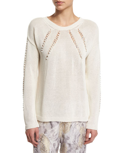 Netted Boucle-Trim Pullover Sweater, Cream/Gray