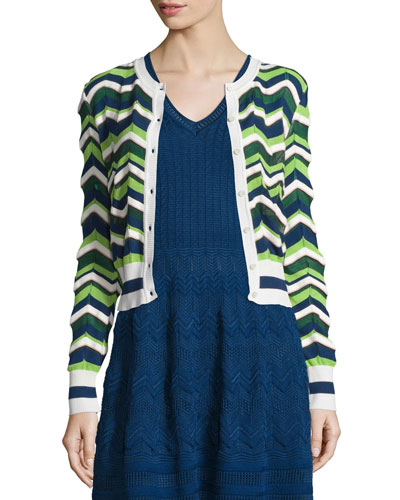Zigzag Cropped Cardigan, Evergreen