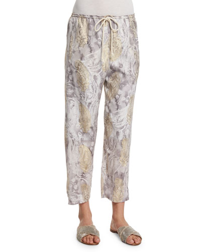 Silk Paisley Lounge Pants