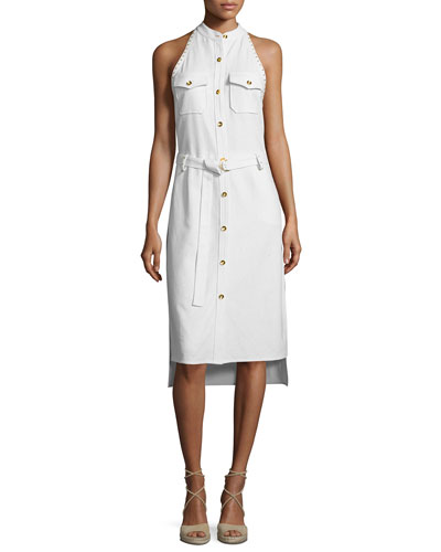 Sleeveless Studded Metallic Silk Shirtdress, Cream