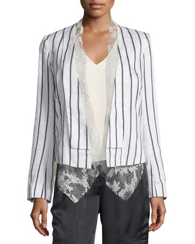 Striped Linen-Blend Jacket w/ Lace Vest, White