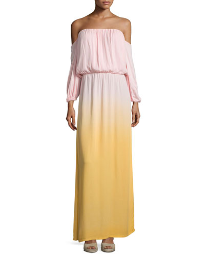 Martha Off-The-Shoulder Maxi Dress, Melon Ombre