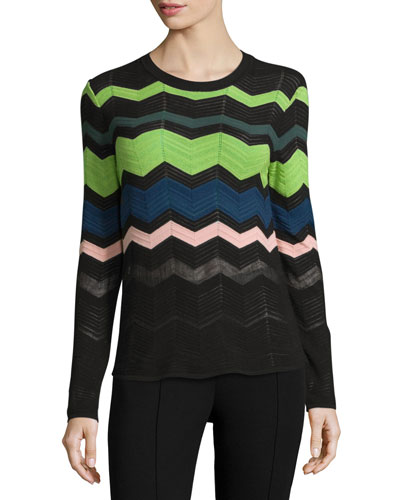 Zigzag Long-Sleeve Pullover Sweater, Black