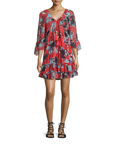 Howard 3/4-Sleeve Tiered Dress, Cabo Floral Rouge