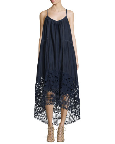 Tula A-Line High-Low Midi Dress, Dune Lace Embroidery