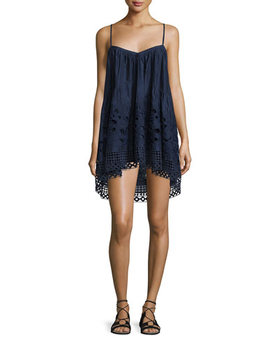 Angi Sleeveless A-Line Top, Dune Lace Embroidery