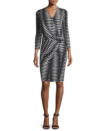 3/4-Sleeve Geometric-Print Dress, Black/Multi