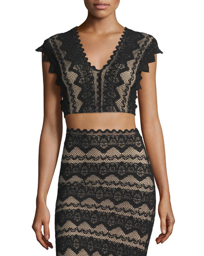 Sierra Lace Crop Top, Black