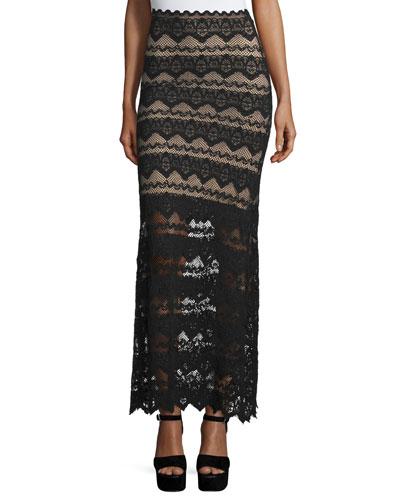 Sierra Lace Maxi Skirt, Black