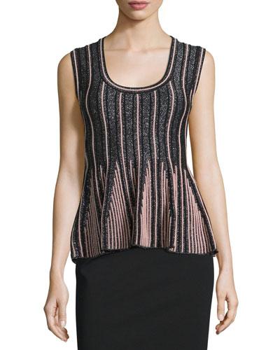 Striped Lurex® Peplum Top, Gray/Pink