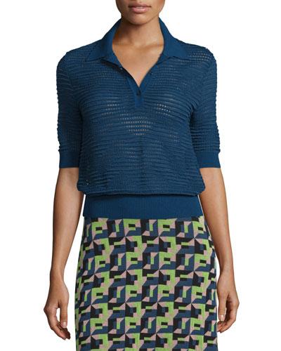 Short-Sleeve Rib-Stitch Polo Top