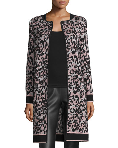 Metallic Animal-Print Long Coat, Blush