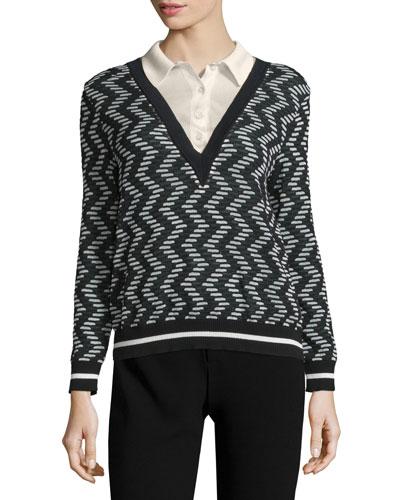 Rod Zigzag Long-Sleeve Sweater w/ Collar, Black