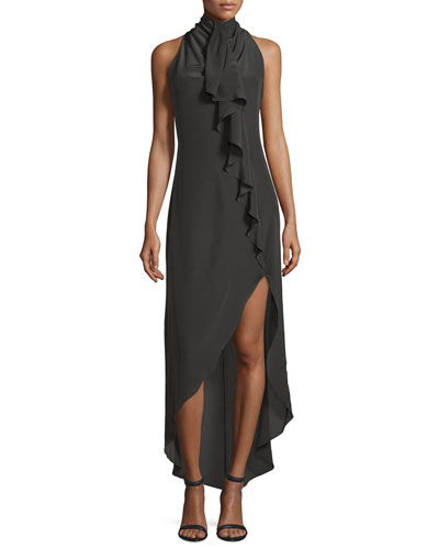 Sleeveless Silk High-Low Ruffle Dress, Military