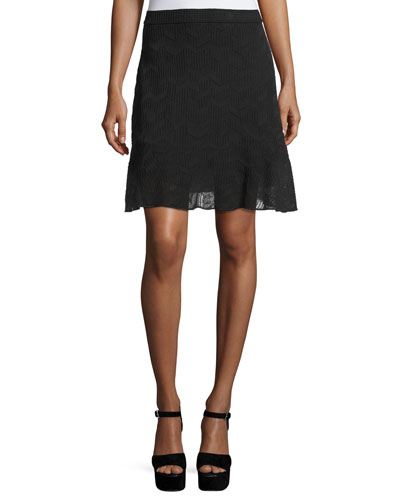 Zigzag Knit Flounce Skirt, Black