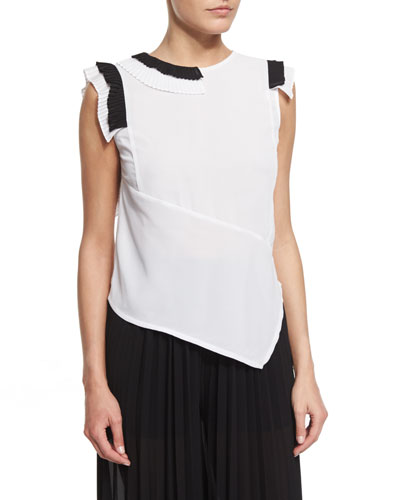 Sleeveless Asymmetric Two-Tone Blouse, White/Black